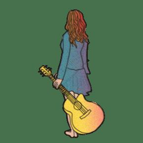 卡通手繪噪點風格拿吉他的文藝長發女生背面