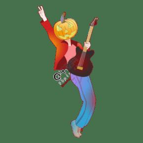 萬圣節卡通手繪嘻哈風格狂歡夜彈吉他的南瓜頭人