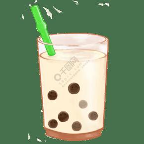 美食主題珍珠奶茶手繪插畫