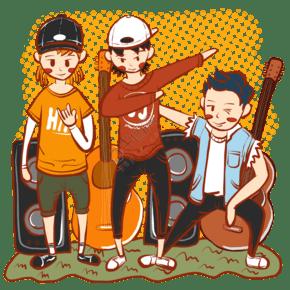 手繪卡通嘻哈音樂青年音樂節小插圖
