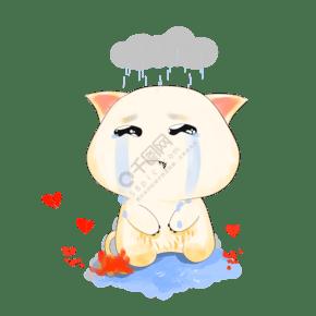 情感表达伤心哭泣的猫咪