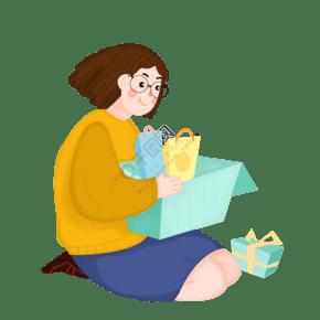 购物女孩双十一插画