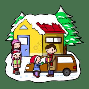 卡通圣诞节家庭png透明底