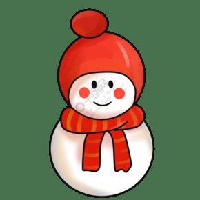 卡通雪人手绘插画