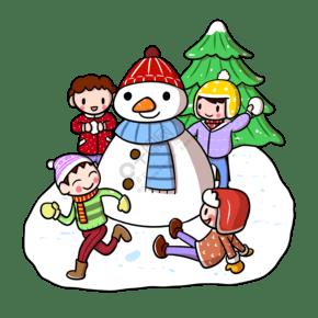 卡通圣诞节儿童玩耍png透明底