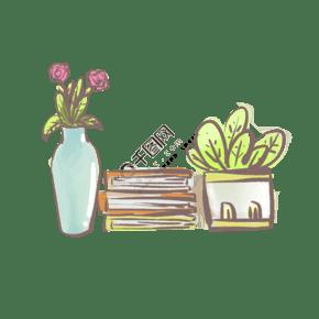 手绘花盆花瓶书装饰插画