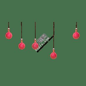 几盏红色的小吊灯