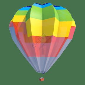 C4D低面彩虹热气球