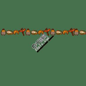卡通烤魚牛角包分割線