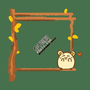 木質可愛小框插畫
