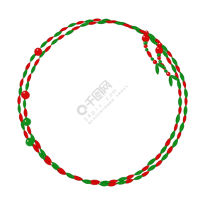 红绿撞色珠串边框PNG素材