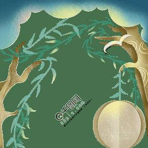 藍綠色夢幻發芽柳樹剪紙海報邊框