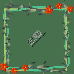 绿藤红花正方形海报边框
