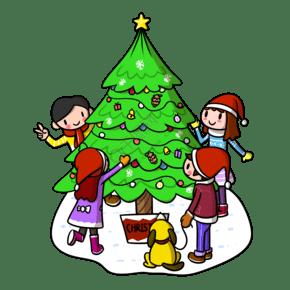 卡通圣诞节圣诞树儿童png透明底