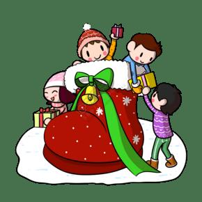 卡通圣诞靴子礼物送儿童png透明底