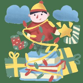 手绘圣诞节快乐儿童插画