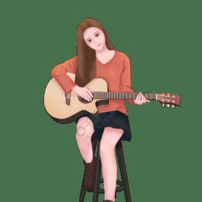 彈吉他的女孩小清新插畫
