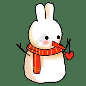 呆萌圣诞雪人手绘插画