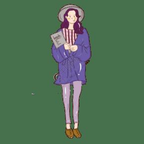 簡約時尚秋裝女孩手繪插圖PSD源文件