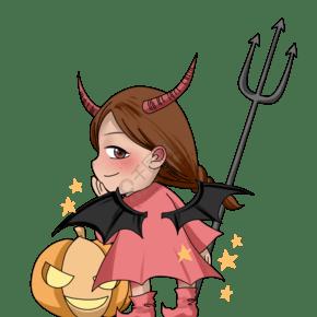 万圣节变身恶魔的小女巫