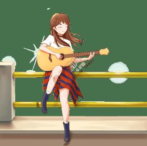 卡通彈吉他的女孩插畫
