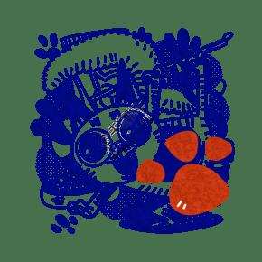 藍白雙十一寵物淘寶購物復古國潮牌PNG