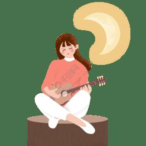 彈吉他的女孩卡通插畫