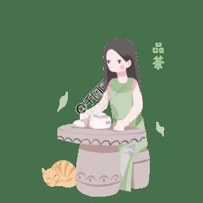手繪養生功夫茶飲美女人物插畫