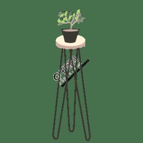 手绘卡通高脚桌子盆栽