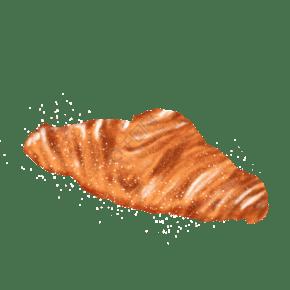 黃色牛角包牛角酥面包甜品零食手繪插畫免扣素材