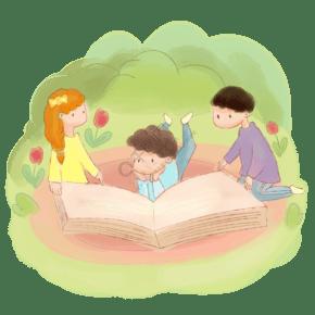 手绘卡通水墨水彩小学生看书学习