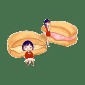 甜點甜品烘焙蛋糕面包手繪美食PNG