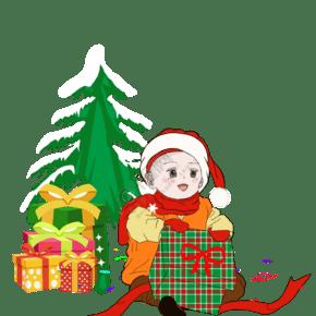 手绘圣诞节卡通人物宝宝