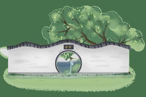 中國風庭院里的女孩