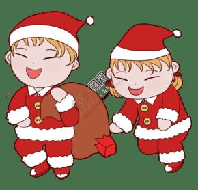 圣诞节可爱儿童人物插画