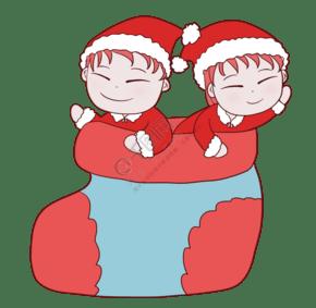 圣诞袜里两个儿童插画