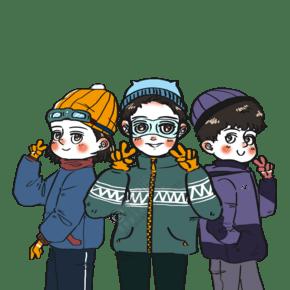 冬季好朋友戶外運動溜冰合影卡通人物場景