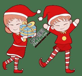 手绘穿圣诞节服装的儿童