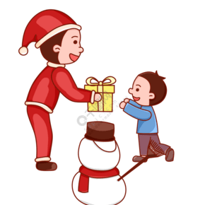 圣诞圣诞节圣诞夜儿童雪人礼物卡通可爱红色免扣