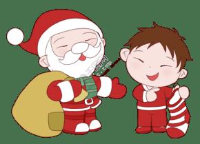 手绘圣诞节圣诞老人送礼物