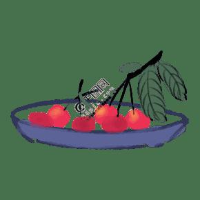 红色新鲜水墨樱桃