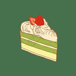 手繪美食甜點西點抹茶蛋糕面包店甜品店