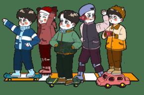 冬天在戶外玩輪滑滑板的男孩兒朋友們卡通人物場景