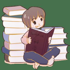 卡通手绘认真看书的可爱女生