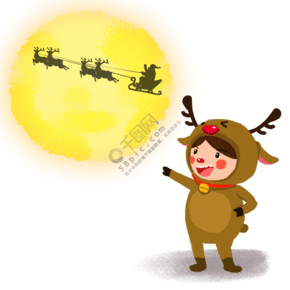 圣诞节手绘卡通人物圣诞麋鹿小朋友