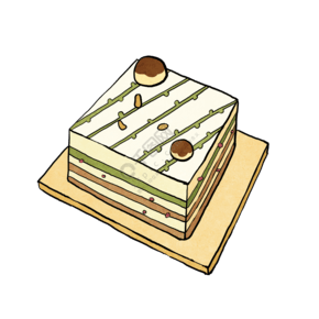 手繪食物美食抹茶巧克力蛋糕蛋糕店生日蛋糕