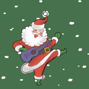 通手繪圣誕節老人吉他插畫