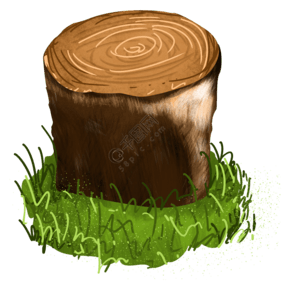 春天绿色树桩树根年轮插画素材