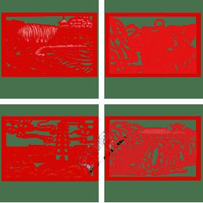 手绘中国风猪年世界名胜古迹风景区剪纸窗花2019年