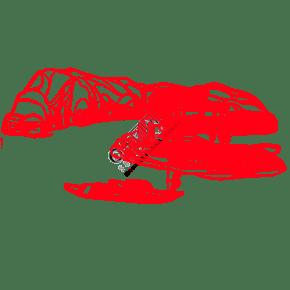 手绘中国风猪年世界名胜古迹风景区剪纸江边船艄上